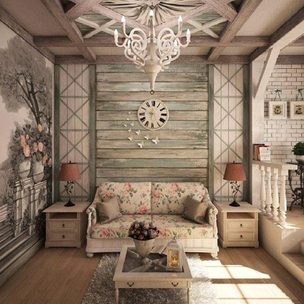 Сочетание декоративной деревянной отделки стены и кирпичной кладки