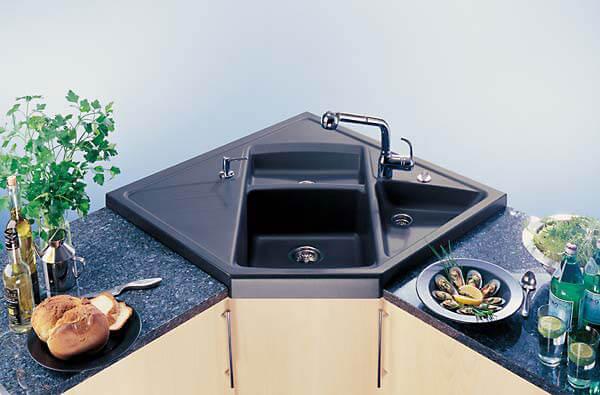 Угловая керамическая мойка для кухни