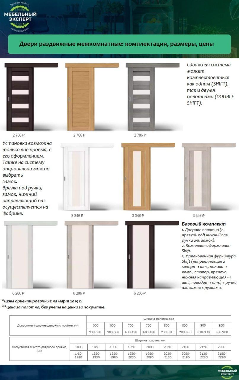 Двери раздвижные межкомнатные: комплектация, размеры, цены