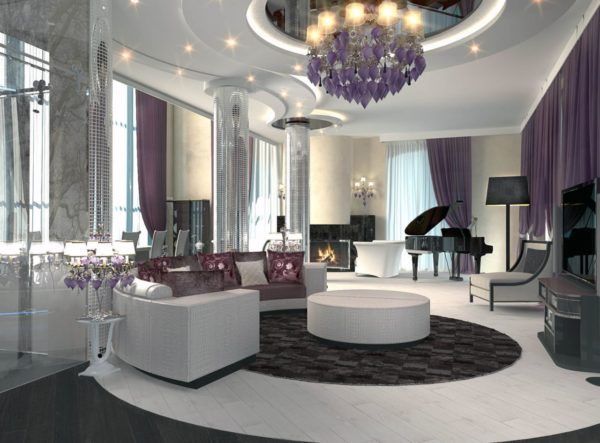 Многоярусный потолок с точечным освещением дополняет общую композицию стиля арт деко, в котором выполнена гостиная