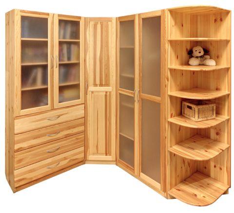 Дерево – универсальный материал для углового шкафа