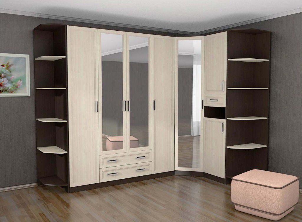 Фасад углового шкафа определяется стилистикой интерьера